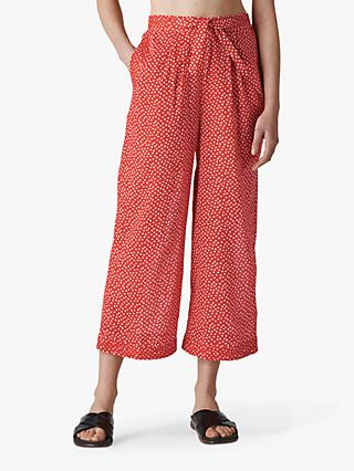 Whistles Beach Heart Cotton Trousers, Red/Multi