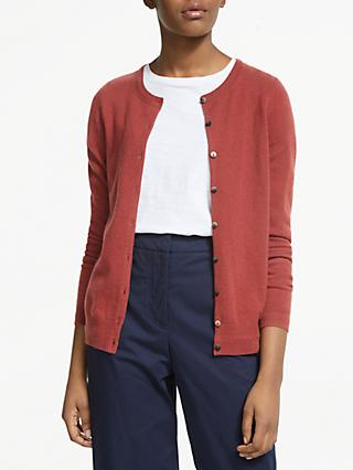 Boden Cashmere Crew Neck Cardigan, Conker