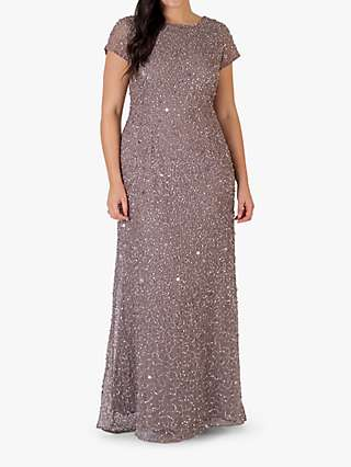 Chesca Short Sleeve Sequin Maxi Dress, Stone