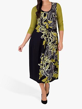 Chesca Floral Draped Dress, Black/Lime