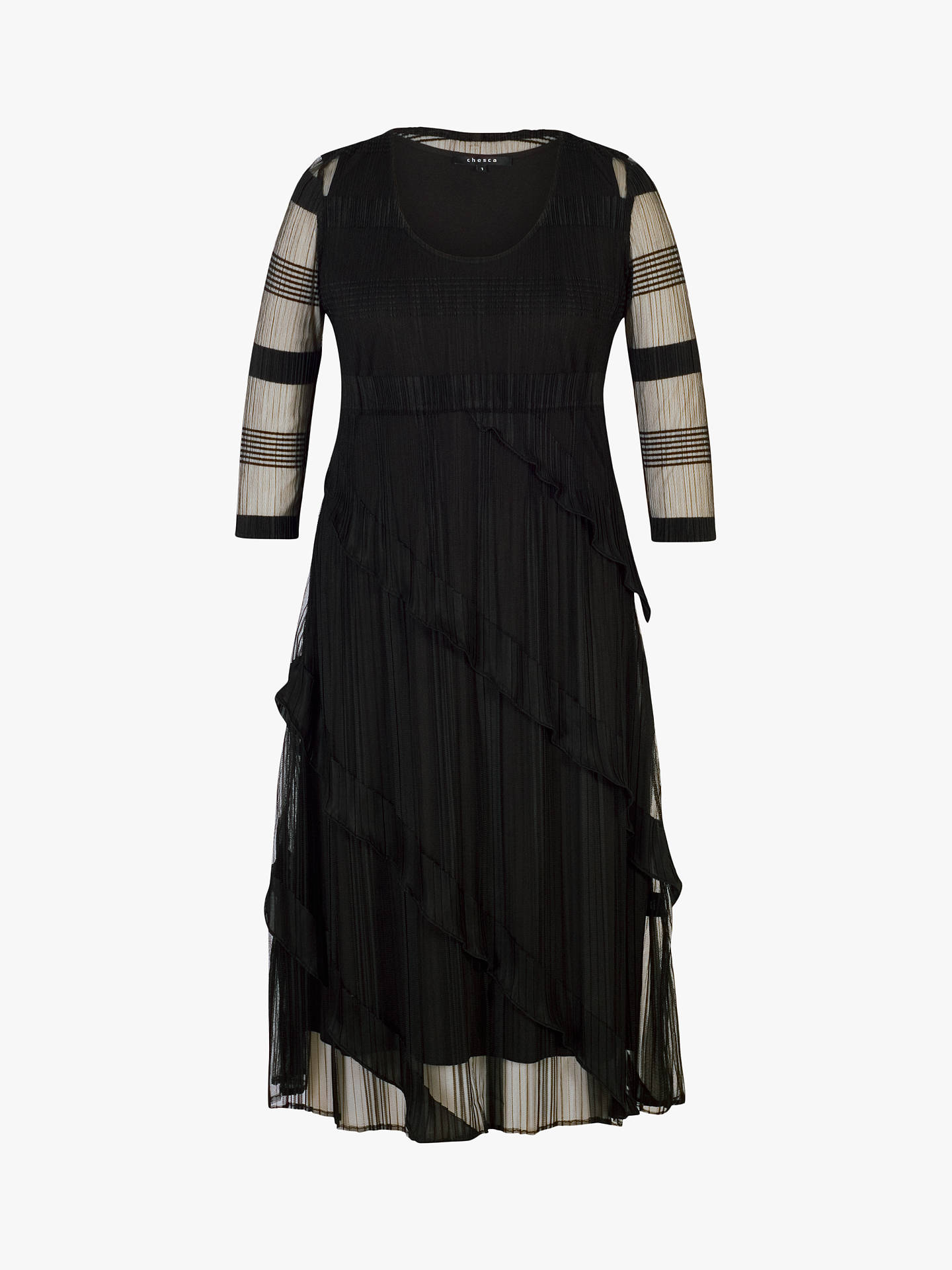 BuyChesca Frill Pleat Midi Dress, Black, 16-18 Online at johnlewis.com