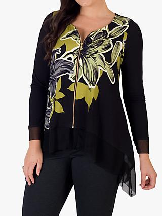 Chesca Floral Hanky Hem Top, Black/Lime