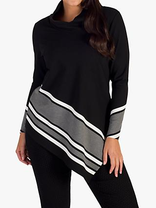 Chesca Stripe Border Cowl Neck Top, Black/Grey