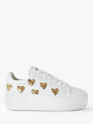 Ash Cute Faltform Low Top Trainers, White Leather/Gold
