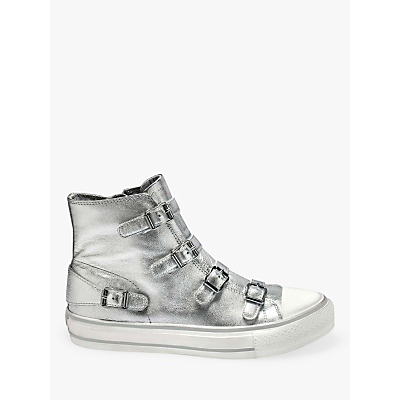 Ash Virgin Moon Buckle Hi-Top Trainers, Silver Leather