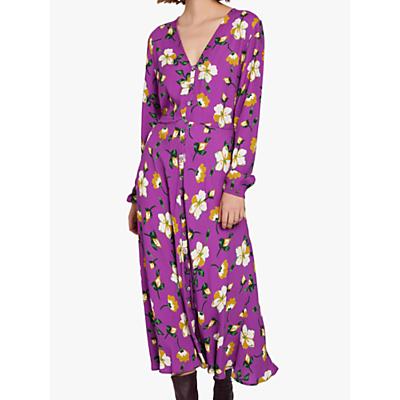 Ghost Laura Crepé Midi Dress, Purple