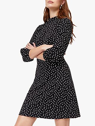 Warehouse Balloon Sleeve Spot Dress, Black Pattern
