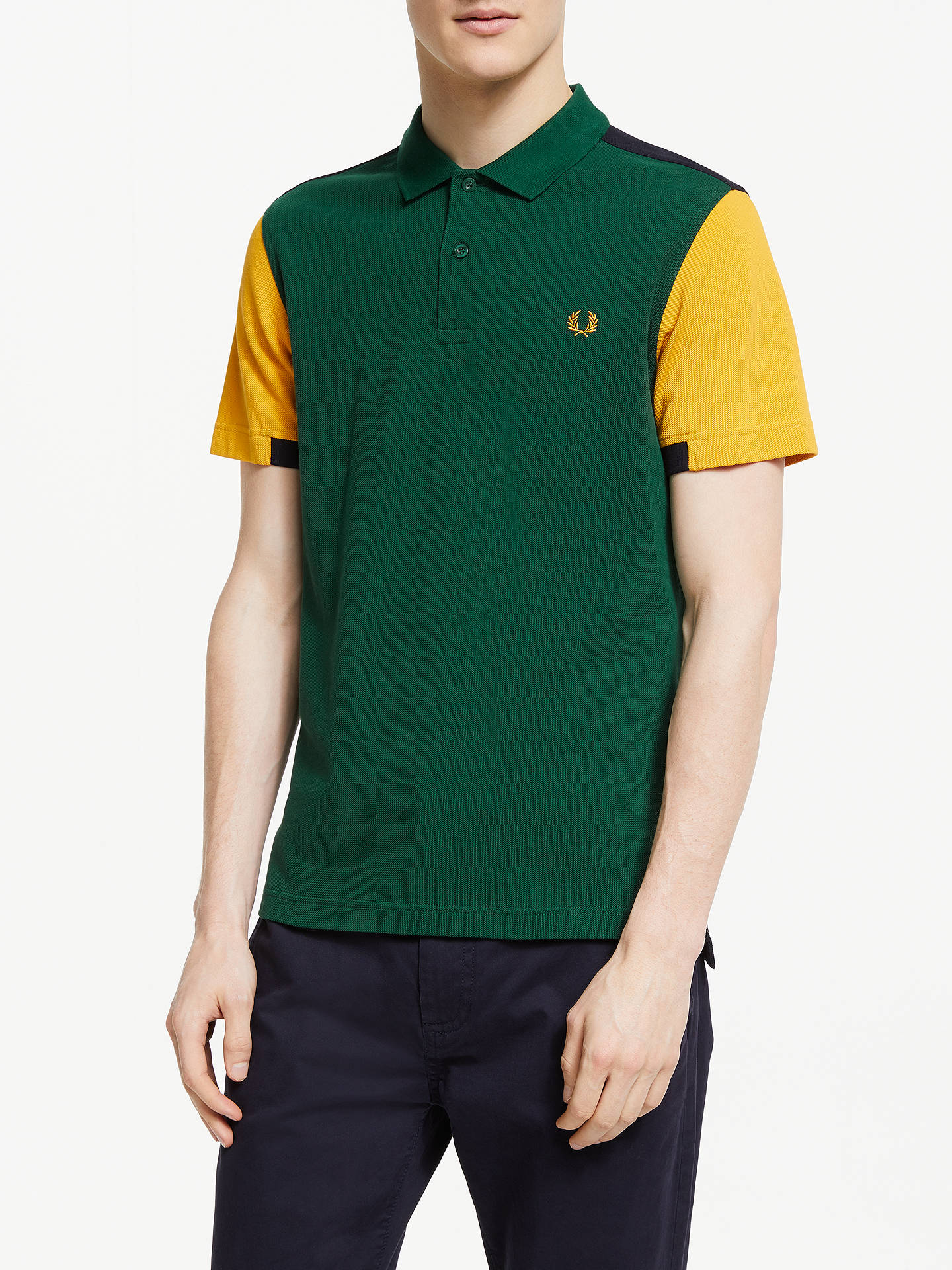 Fred Perry Bold Cuff Insert Pique Polo Shirt Ivy At John Lewis