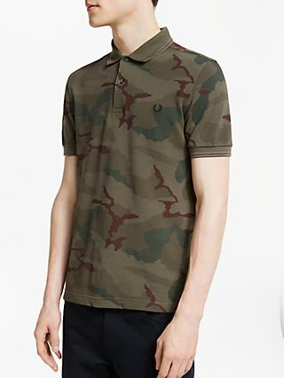 Fred Perry Camouflage Pique Polo Shirt, Iris Tundra