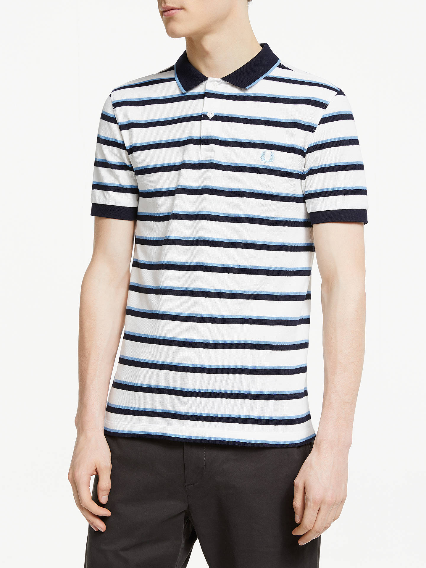 9fbc92c17 Fred Perry Stripe Tipped Pique Polo Shirt, Snow White/Navy