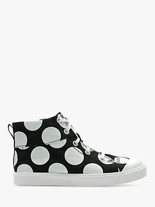 Clarks Children's City Flare High Top Spot Canvas Shoes, Black Combi