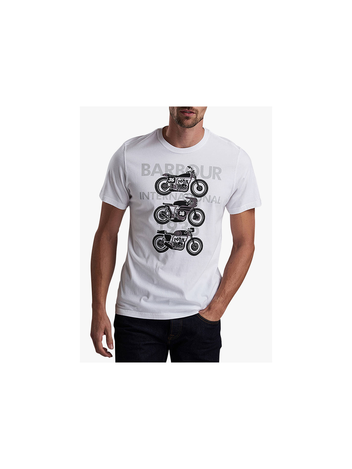 ae640e0f495 Buy Barbour International Bikes Short Sleeve Graphic T-Shirt, White, S  Online at ...