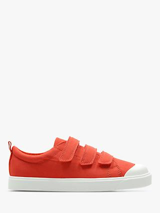 Clarks Children's City Flare Canvas Riptape Shoes, Orange