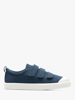 Clarks Junior City Flare Low Top Canvas Riptape Shoes, Navy