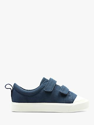 Clarks Junior City Flare Low Top Canvas Rip-Tape Shoes, Navy
