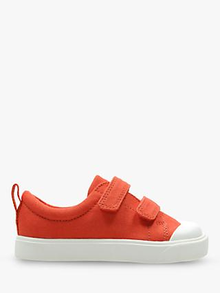 Clarks Children's City Flare Canvas Rip-Tape Shoes, Orange