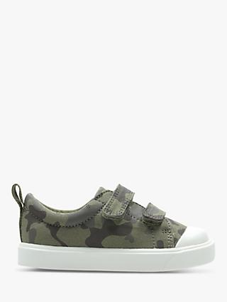 Clarks Junior City Flare Low Top Canvas Rip-Tape Shoes, Olive Camo