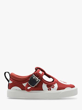 Clarks Children's City Disney Polka Dot Canvas Shoes, Red Combi