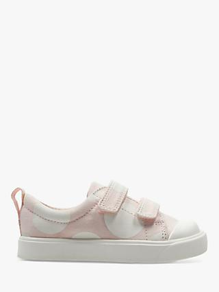 Clarks Children's City Flare Spot Canvas Rip-Tape Shoes, Pink