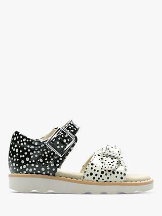 Clarks Children's Crown Bloom Spot Print Sandals, Black