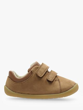 Clarks Children's Roamer Craft Leather Riptape Shoes, Tan
