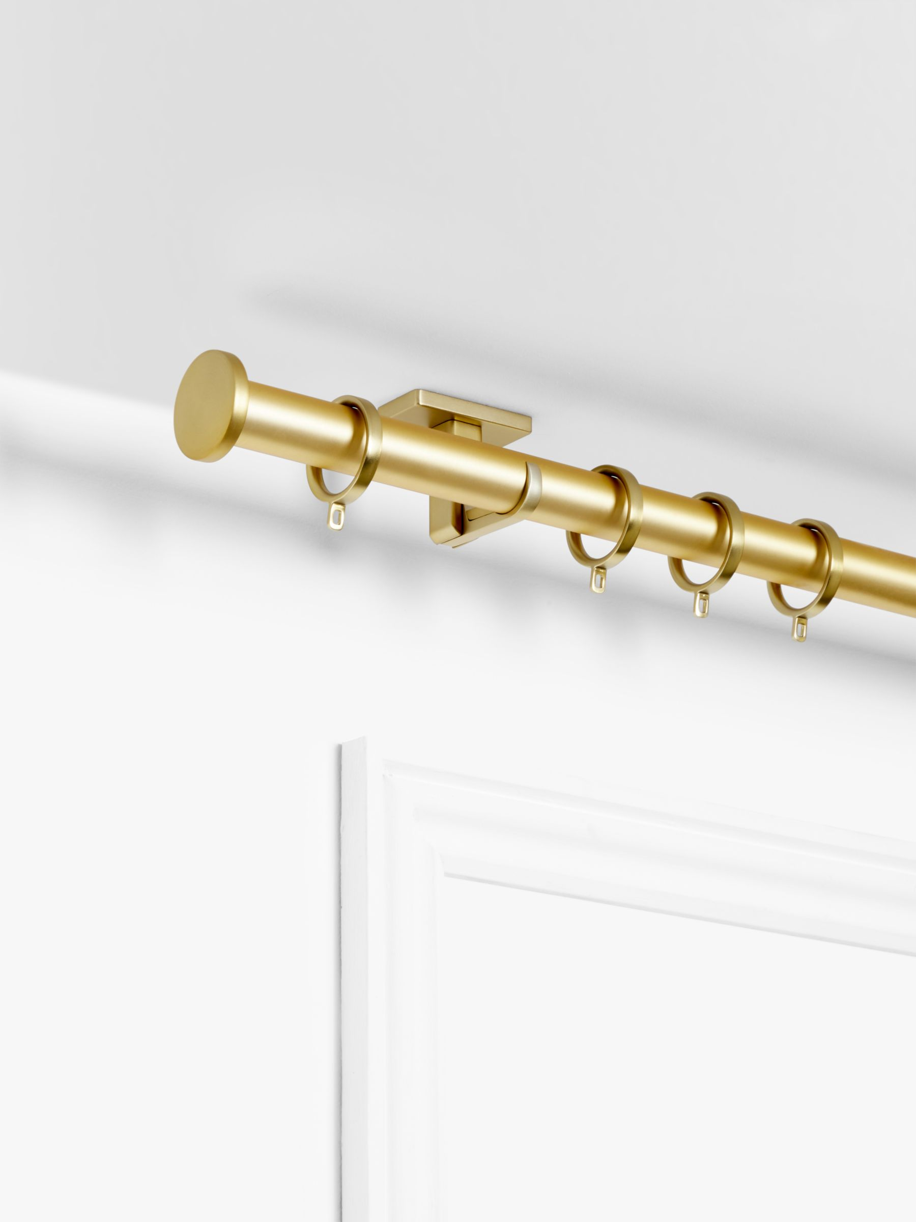 John Lewis Partners Made To Measure Revolution Bay Bend Curtain Pole With Rings And Disc Finials Wall Ceiling Fix Dia 30mm At John Lewis Partners