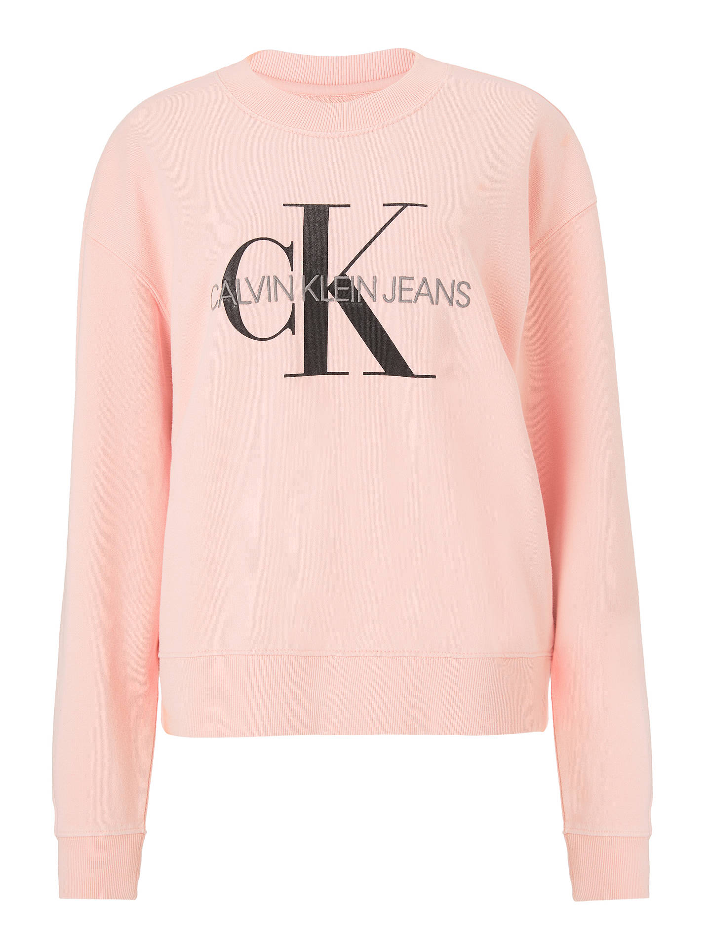 Buy Calvin Klein Core Monogram Logo Sweatshirt, Strawberry Cream, XS Online at johnlewis.com
