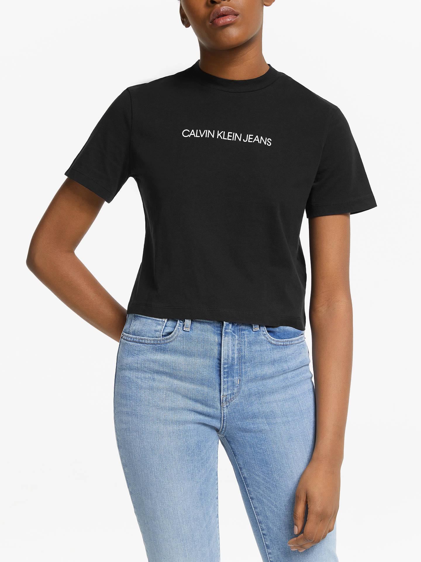 c93c4fee6382 Calvin Klein Jeans Shrunken Cropped Logo T-Shirt at John Lewis ...