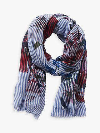 Betty & Co. Striped Floral Print Scarf, Blue/White