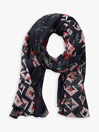 Betty & Co. Floral Print Scarf, Blue/Rosé