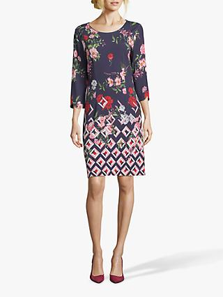 Betty & Co. Floral Print Dress, Blue/Rosé