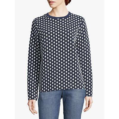 Betty & Co. Dot Print Textured Jumper, Blue/White