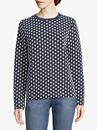 Betty & Co. Dot Print Textured Jumper, Blue/White