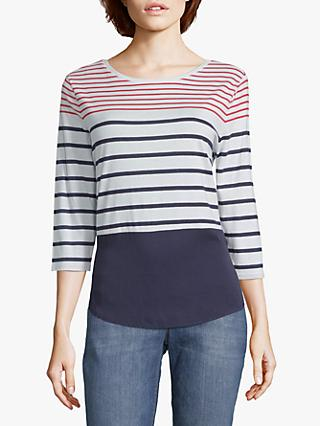 Betty & Co. Colour Block Striped Top, Red/White/Blue