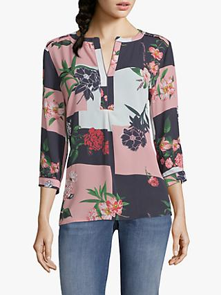 Betty & Co. Colour Block Floral Print Blouse, Pink/Blue
