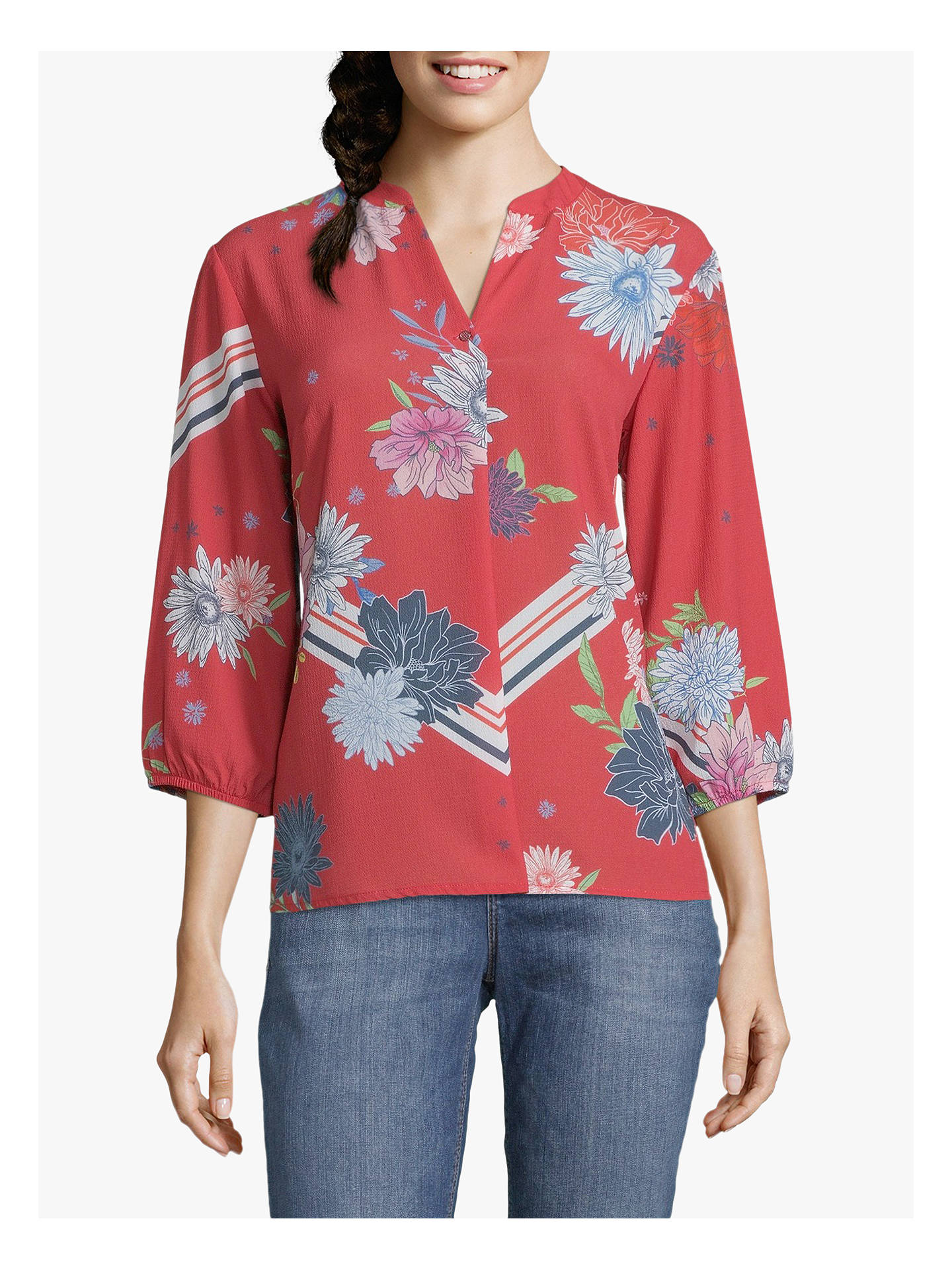 Buy Betty & Co. Floral Print Blouse, Red, 14 Online at johnlewis.com