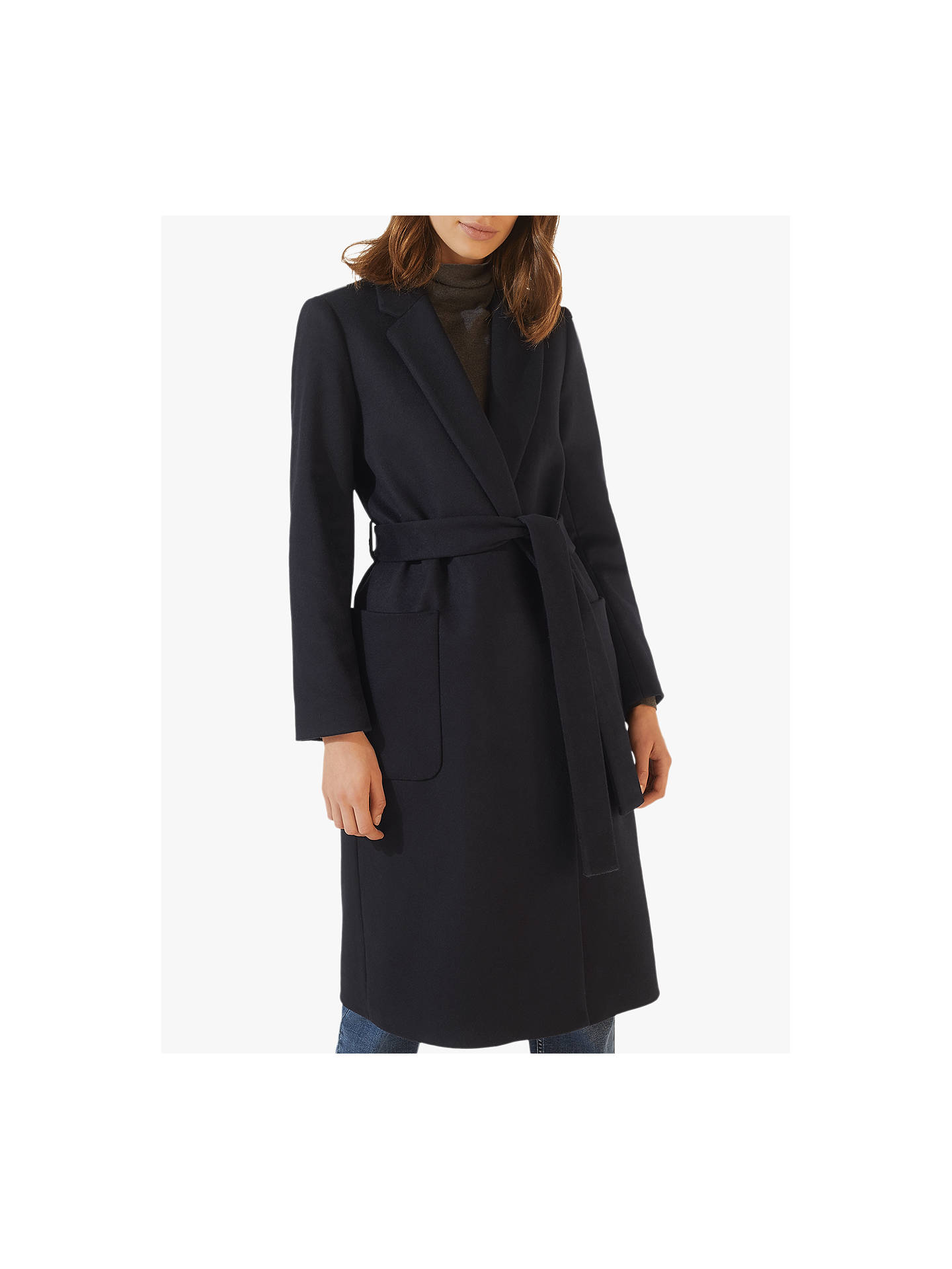Jigsaw Narrow Belted Coat, Black by Jigsaw