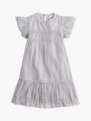 crewcuts by J.Crew Girls' Janelle Metallic Pleat Dress, Silver