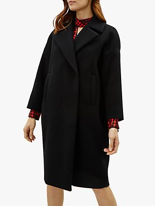 Jaeger Wool Blend Cocoon Coat, Black