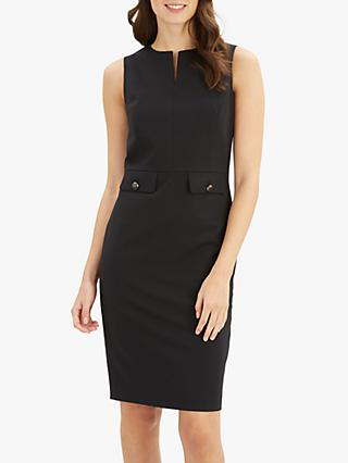 Jaeger Pocket Detail Fitted Dress, Black