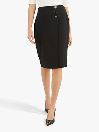 Jaeger Side Button Detail Pencil Skirt, Black