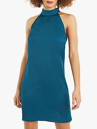 Oasis Satin Back Crepe Halterneck Shift Dress, Deep Green