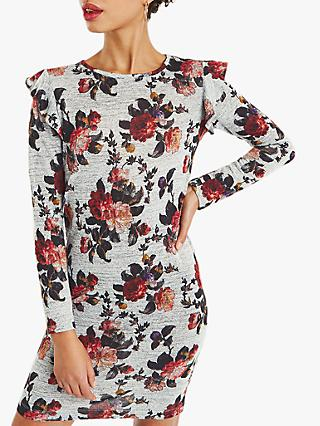 Oasis Garden Floral Cosy Dress, Grey/Multi