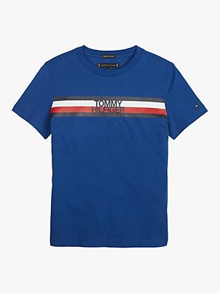 Tommy Hilfiger Boys' Stripe Short Sleeve T-Shirt, Blue
