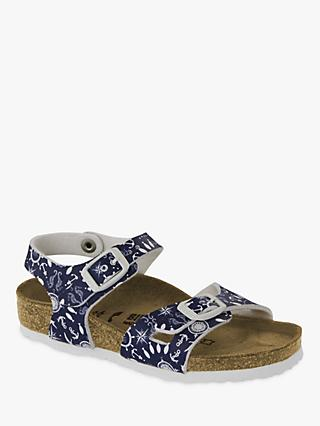 Birkenstock Children's Rio Nautical Buckle Sandals, Blue