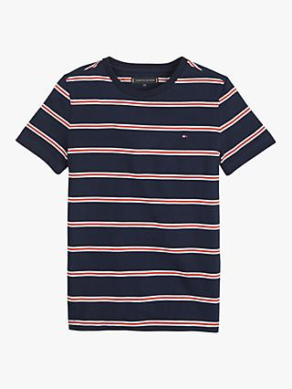 Tommy Hilfiger Boys' Stripe Short Sleeve T-Shirt, Navy