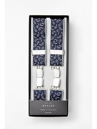 John Lewis & Partners Made in England Foulard Braces, One Size, Navy