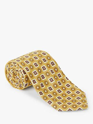 John Lewis & Partners Square Circle Silk Tie, Gold