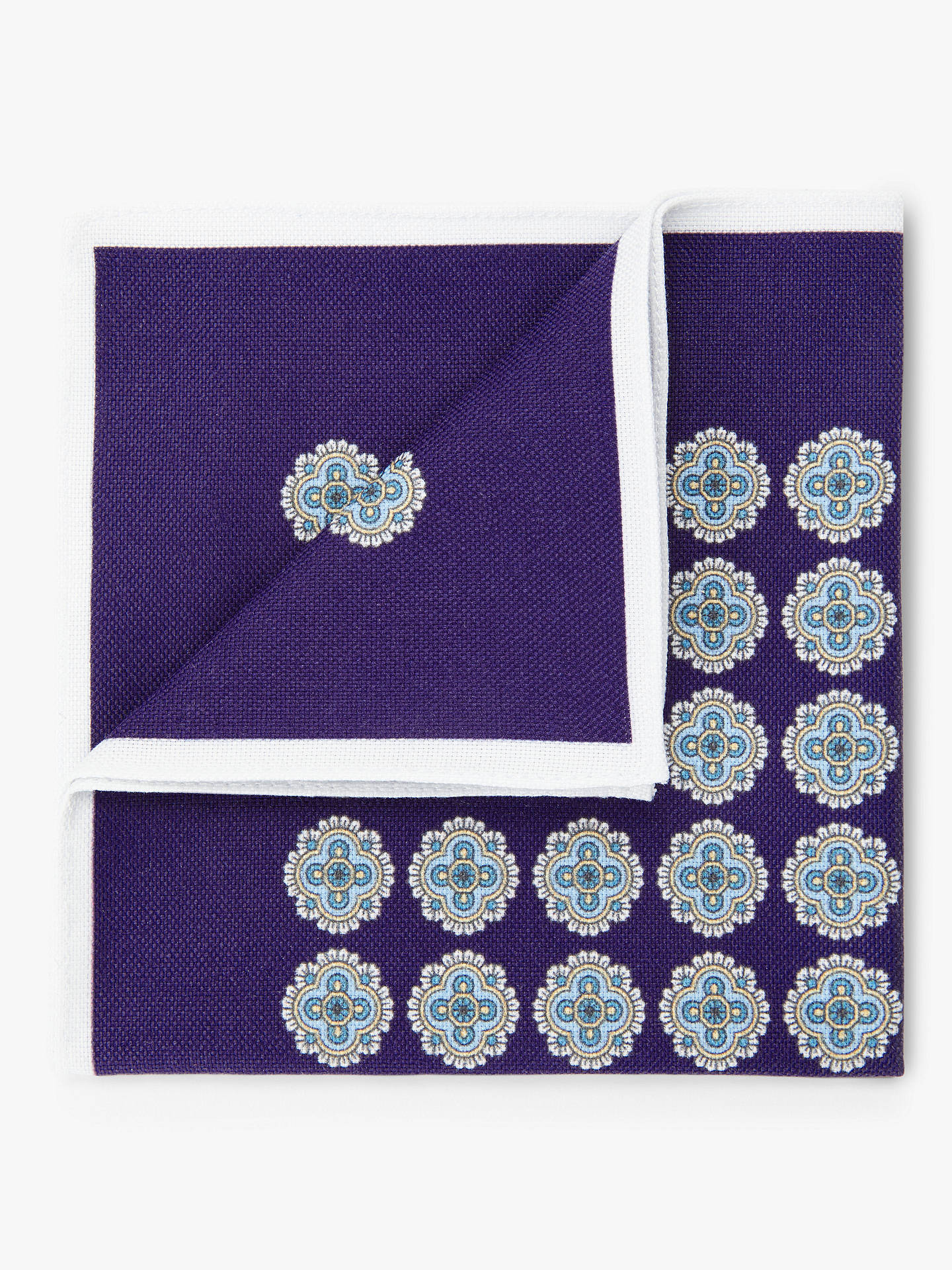 Buy John Lewis & Partners Medallion Print Silk Pocket Square, Blue Online at johnlewis.com