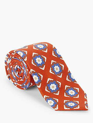 John Lewis & Partners Floral Silk Tie, Orange